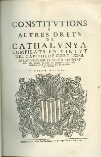 Constitucions Catalanas, primer volumen de 1702, por Old - Old, Dominio público, https://commons.wikimedia.org/w/index.php?curid=174014