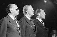 Menachem Begin, Jimmy Carter y Anwar el-Sadat en Camp David.